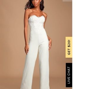 Lulus All Your Heart White Lace Strapless Jumpsuit